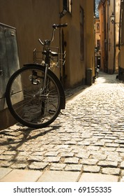 bicycle in old street Stockholm, Gamla stan, Sweden