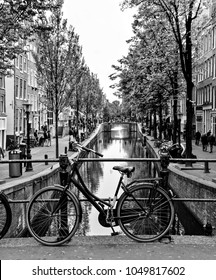 Bicycle on an Amsterdam canal bridge.