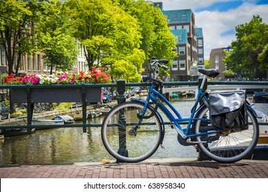 Bicycle on the bridge in Amsterdam, Netherlands