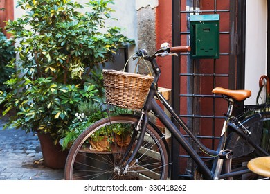 bicycle on cozy street in Europe