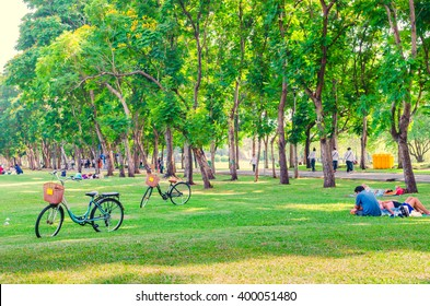 Bicycle on green grass in the park. People relaxing. Happy family enjoy time together outside. togetherness, love, happiness concept.