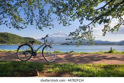 The bicycle on the lake side of kawaguchiko lake
