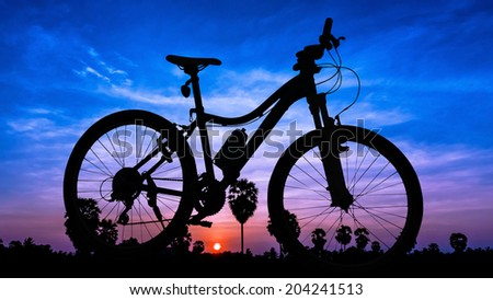 Bicycle on twilight time in Thailand Asia