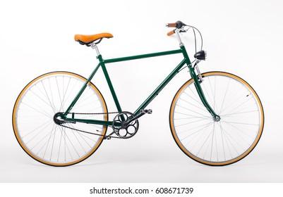 Bicycle on white background. Studio shot of retro styled bicycle