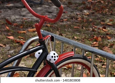 bicycle with ornamental dice on the handlebars
