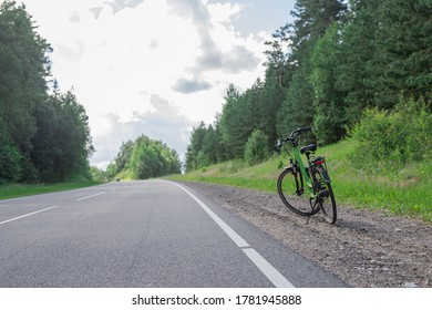 Bicycle outdoors in summer on the road