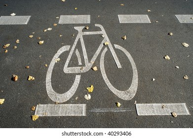 Bicycle outline on cycle track in Berlin, Germany