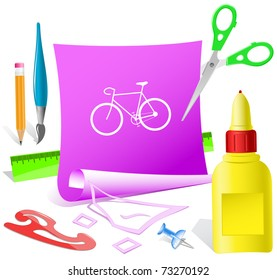 Bicycle. Paper template. Raster illustration.