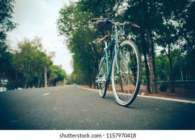 Bicycle park road lane vintage style