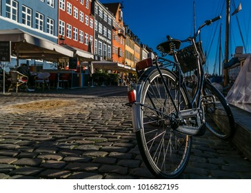 Bicycle parked on Nyhavn street, Copenhagen Denmark, 30 October 2017