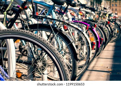 bicycle parking. bikes stand tight next to each other