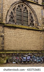 Bicycle parking by St. Martin's Cathedral in Utrecht, Netherlands