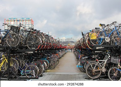 Bicycle parking in the center of Amsterdam.