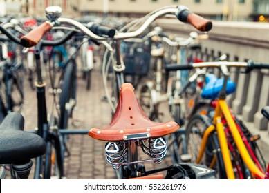 Bicycle parking in Copenhagen. Denmark