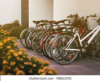 Bicycle parking near the house