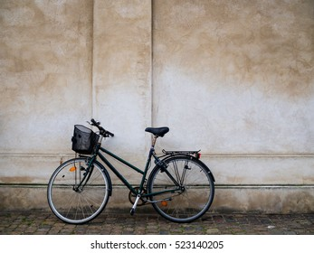 Bicycle parking on concrete wall