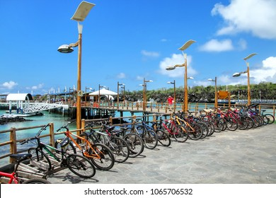 Bicycle parking on the waterfront in Puerto Ayora, Santa Cruz Island, Galapagos National Park, Ecuador. Puerto Ayora is the most populous town in the Galapagos Islands.