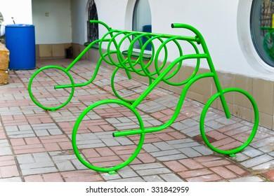 Bicycle parking place. Kiev, Ukraine.