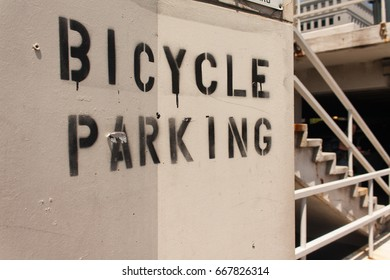 Bicycle Parking Sign Painted