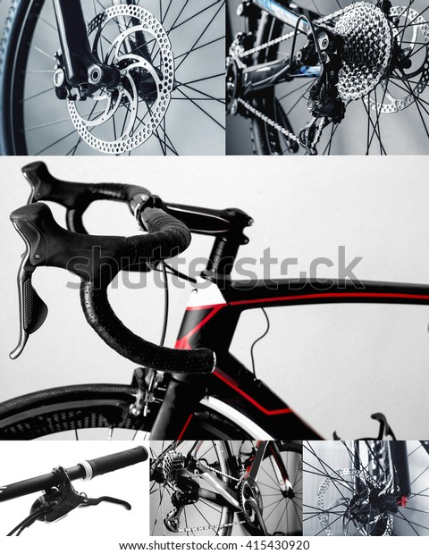 Bicycle Parts Collage Road Bike Mountain Stock Photo (Edit