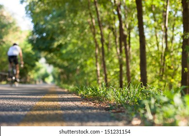 Bicycle path with green trees. A cyclist pedals in the background.