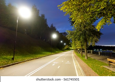 Bicycle path at night in the park