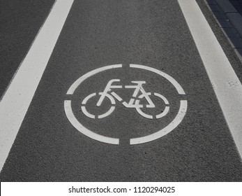 Bicycle path on asphalt