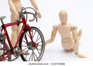 Bicycle and person collision accident on the street