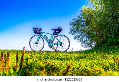 Bicycle picnic summer landscape. Summer bicycle picnic scene. Bicycle picnic view