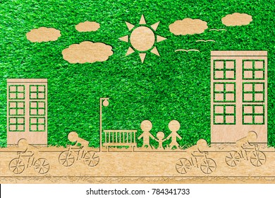 bicycle race car free day paper cut of a green background