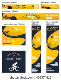 bicycle race event. different size banner set - Shutterstock ID 406374613