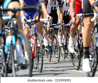bicycle racing wheels during the cycle road race in europe