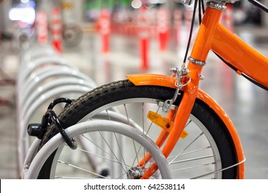 Bicycle in rack close-up for background