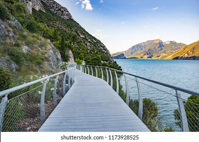 Bicycle road and footpath over Garda Lake in Limone sul Garda, Lombardy, Italy