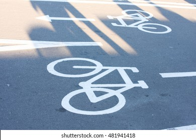 Bicycle road sign on the road