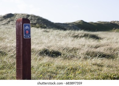 Bicycle route sign, by the North Sea in Denmark