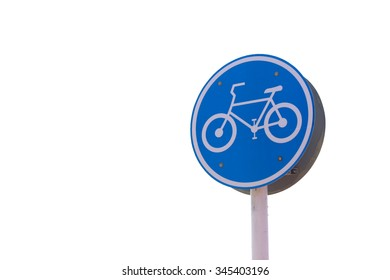 Bicycle sign on white background