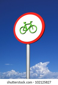 Bicycle signpost on sky
