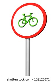 Bicycle signpost on white background