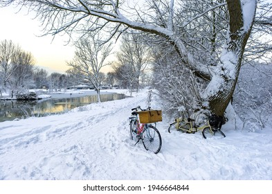 Bicycle in snowy rural scene. Two bicycles in snow. Snowy rural nature bicycles - Shutterstock ID 1946664844