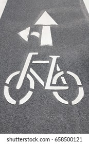 Bicycle symbol as road marking on a cycle lane in Hamburg, Germany