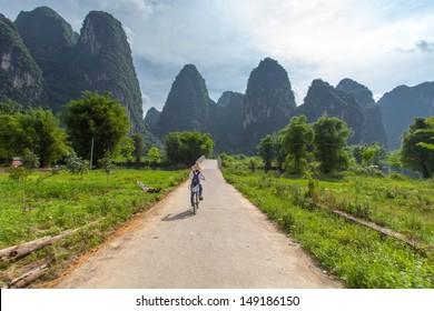 Bicycle tours around  Yangshuo, Guangxi, Guilin, China