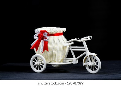 Bicycle toys with light and the scene is black isolated