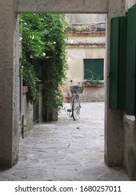 bicycle in a traditional courtyard