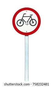 Bicycle traffic permission board on white background, to crop