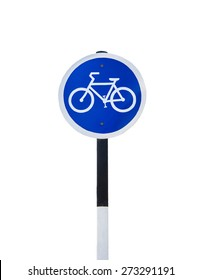 Bicycle traffic sign isolated on white background.