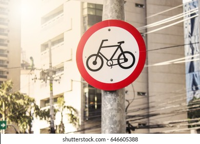 Bicycle traffic sign in a pole at Sao Paulo city - 2017