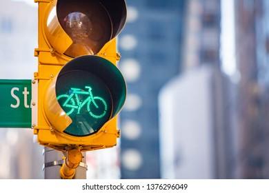 Bicycle traffic signal, road bike, free bike zone or area at day