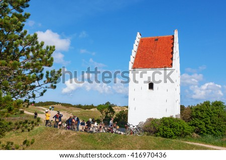 ec9e52b0464 Bicycle Trip Sand Covered Church Skagen Stock Photo (Edit Now ...