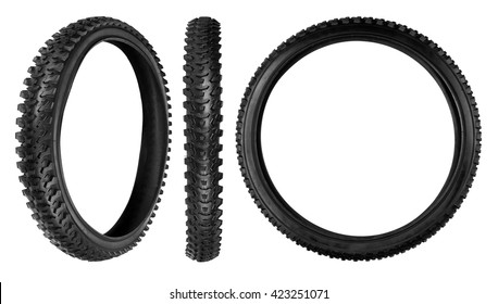 Bicycle tyre isolated on a white background